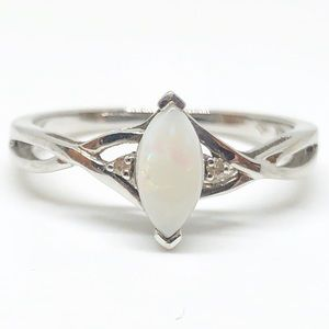 10k White Gold Genuine Opal & Diamond Ring